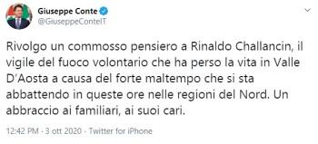 il tweet di Giuseppe Conte
