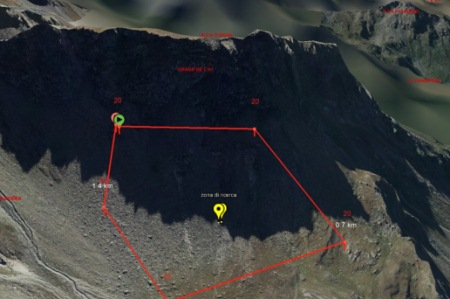 zona di ricerca sulla Becca d'Aran