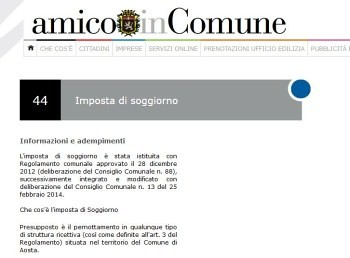 Aosta, la dichiarazione imposta di soggiorno è anche on line ...