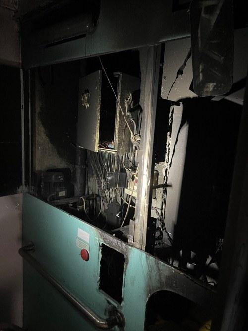 toilette danneggiata da un incendio